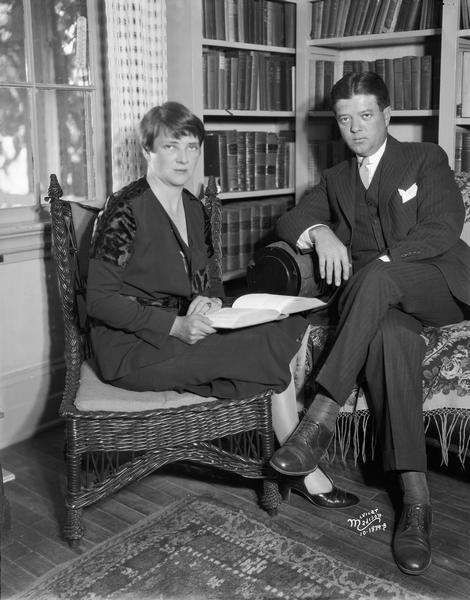 "Portrait of Senator Robert M. La Follette, Jr., and his wife Rachael Young La Follette in the library at Maple Bluff Farm.  This photograph was taken during the year of their marriage. ""Young Bob,"" as he was often known, was elected U.S. senator after the death of his father, Robert M. La Follette, Sr., in 1925."