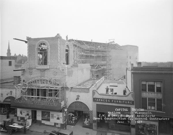 Elevated view above State Street of the Capitol Theatre, with construction nearly completed.