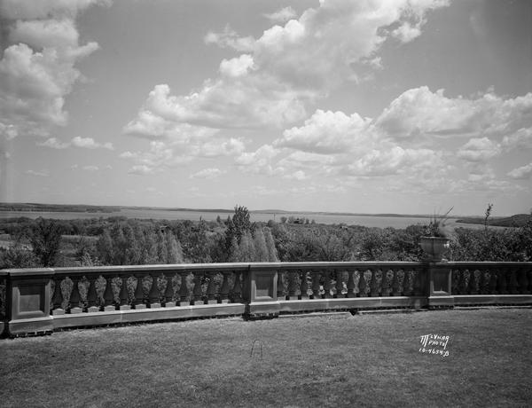 View of Lake Mendota from the terrace of Dr. Frederick A. and Edith Davis house, 6048 South Highlands Avenue, called Edenfred.