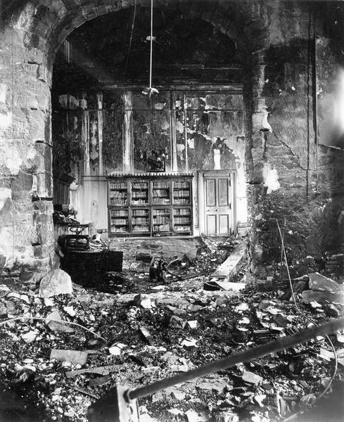 The office of the State Superintendent of Public Instruction in the East Wing of the third Wisconsin State Capitol after the fire of February 27.