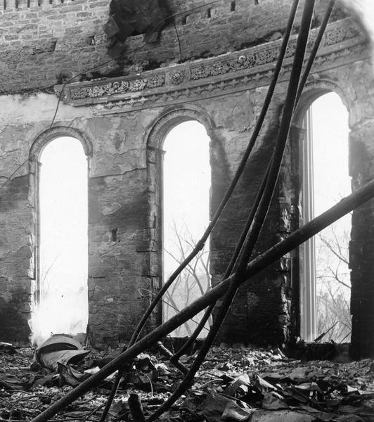 Ruins of the Senate Chamber in the Wisconsin State Capitol after the fire of February 26-27. Here the damage was almost total, leaving only a piece of plaster molding.