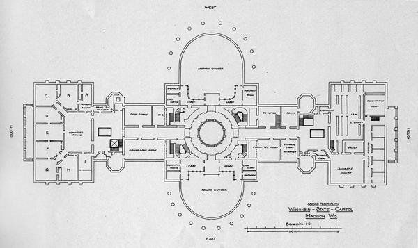 Wisconsin State Capitol Third Floor Plan Book or Pamphlet