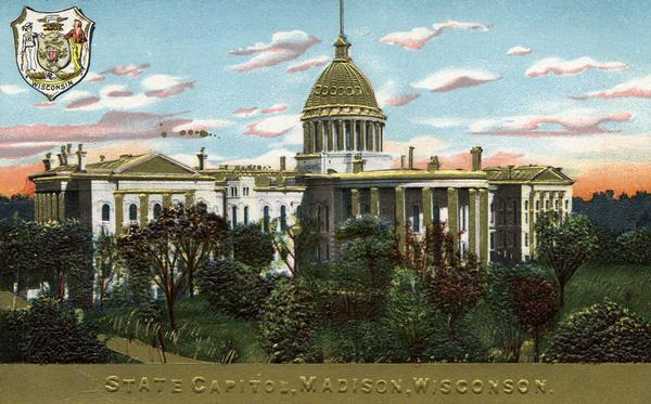 "Embossed souvenir postcard decorated with gold that depicts the third Wisconsin State Capitol as it appeared, 1883-1904. The gold dome was an entirely artistic idea; the metal dome was painted white, although between paintings, it was sometimes rusty in appearance. (In the embossed title across the bottom of the card Wisconsin is spelled ""Wisconson."")"