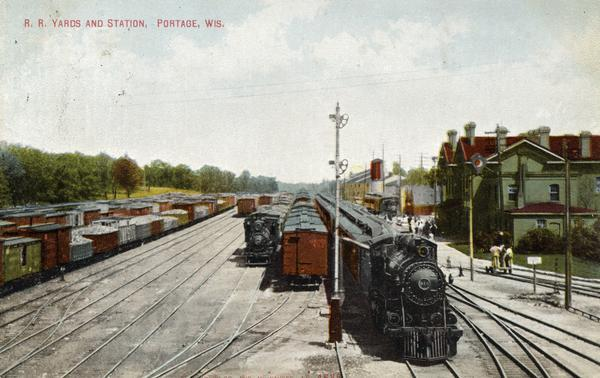 Elevated view of the railroad yards and station.