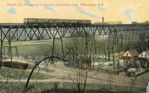Elevated view of a streetcar viaduct on the Waukesha Interurban Line, near Milwaukee.