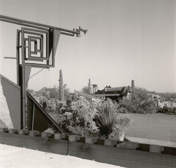 A portion of the sculpture and the entrance court and garden at Taliesin West, winter residence of Frank Lloyd Wright and the Taliesin Fellowship.