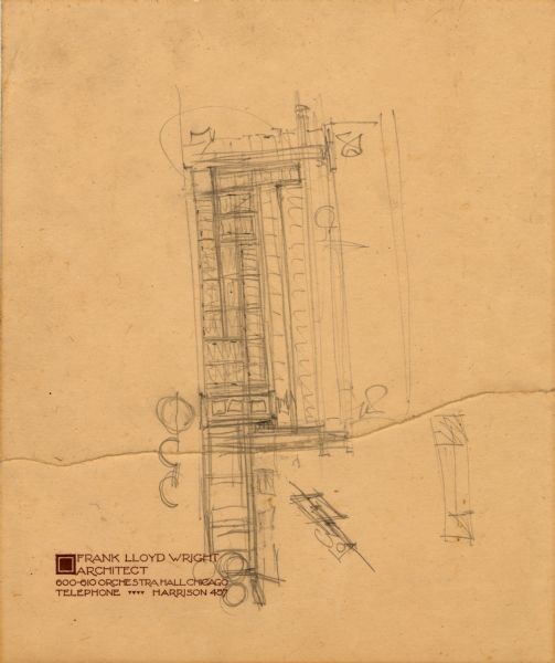 Pencil sketch, on Frank Lloyd Wright 600-610 Orchestra Hall, Chicago, Illinois, stationery. The sketch, drawn by Frank Lloyd Wright, is a preliminary sketch of an unknown building.