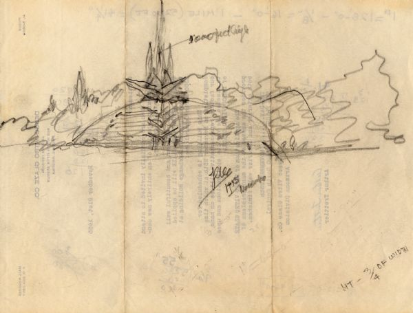 Pencil Sketch By Frank Lloyd Wright