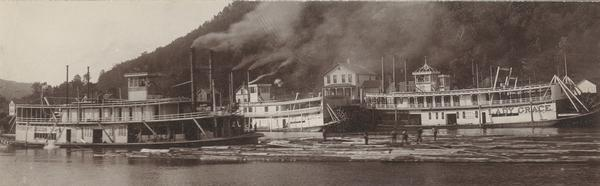 "Three steamers, the ""Robert Dodds"", the ""Stillwater"", and, the ""Lady Grace"", transporting logs in Beef Slough."