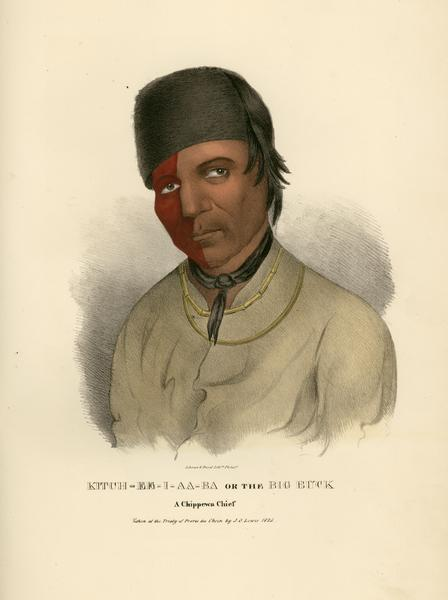 Hand-colored lithograph portrait of Chippewa (Ojibwa) chief Kitch-ee-i-aa-ba, or the Big Buck. Painted at the Treaty of Prarie du Chien (1825).