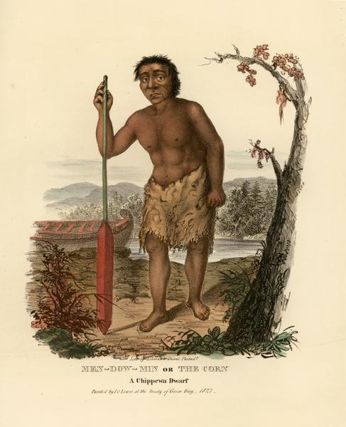 Men-dow-min, or the Corn, a Chippewa (Ojibwa) dwarf. Hand-colored lithograph from the Aboriginal Portfolio, painted at the Treaty of Green Bay (1827).