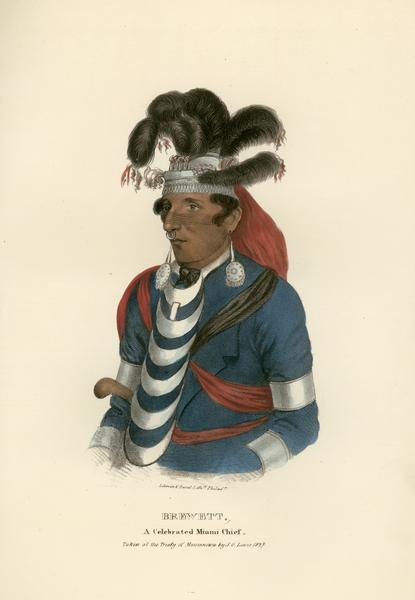 Brewett, Chief of the Miami Tribe. Hand-colored lithograph from the Aboriginal Portfolio, drawn at the Treaty of Massinnewa (1827).