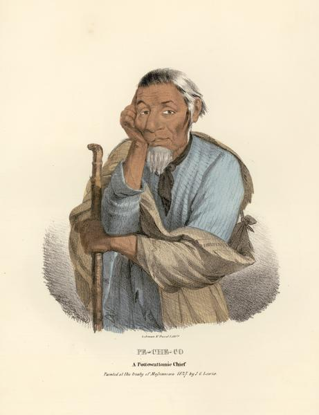 Pe-Che-Co, Pottowattomie (Potawatomi) Chief. Copied from a lithograph of James Otto Lewis, 1827.