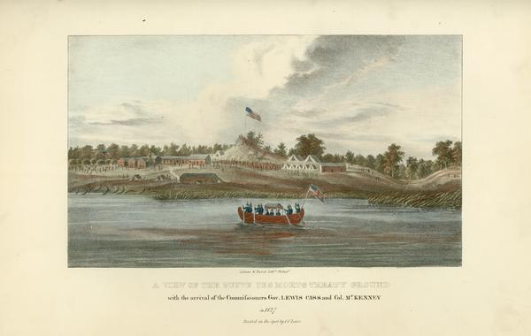 Little Lake Butte Des Morts just north of Lake Winnebago where Governor Lewis Cass of Michigan, and Thomas McKenney, head of the Bureau of Indian Affairs (seen here arriving in a boat), met with Menominee leaders to settle their territorial disputes in 1827. Because representatives of the Oneida and Stockbridge tribes did not attend, the territorial issues were not resolved until 1831 in Washington, D.C. At that time the Menominee ceded lands between Lake Michigan and Lake Winnebago. Hand-colored lithography from the Aboriginal Portfolio, painted by J.O. Lewis, who accompanied McKenney and Cass, at the Treaty of Butte des Morts (1827).