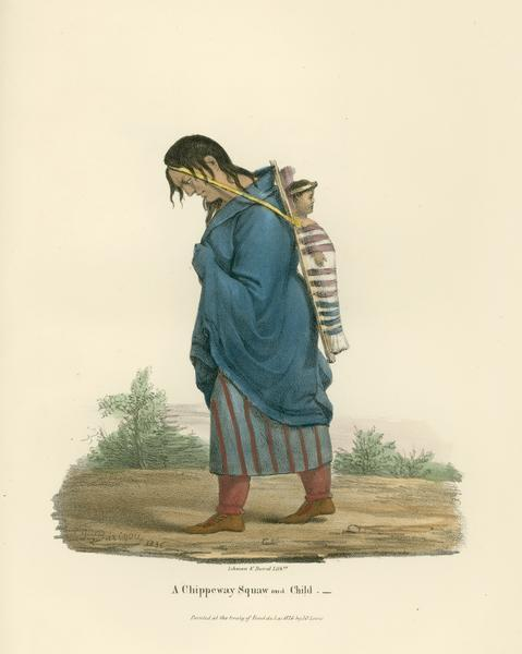 "Originally titled ""Chippeway Squaw and Child"". Portrait of a Chippewa (Ojibwa) woman and her child painted by J.O. Lewis at the Treaty of Fond du Lac in 1826. Published in 1835."