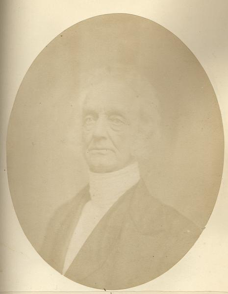 "Quarter-length oval portrait of William R. Smith. He was born at the ""Trappe,"" Montgomery County, Pennsylvania, in August of 1787. He came to Wisconsin in 1837, and resided in Mineral Point."