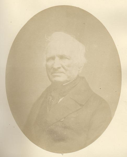 Quarter-length oval portrait of D. Jones.  He was born in Dutchess County, New York, on February 14, 1788.  Jones came to what was then the Territory of Michigan in 1802, and later resided in Green Bay.