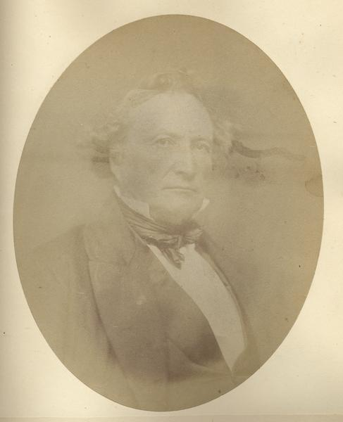 Quarter-length oval portrait of Solomon Juneau. He was born in Lower Canada on August 9th, 1793, Juneau came to Michigan (then), now Wisconsin, in September of 1816. He was the both the first white settler of Milwaukee and the city's first mayor.