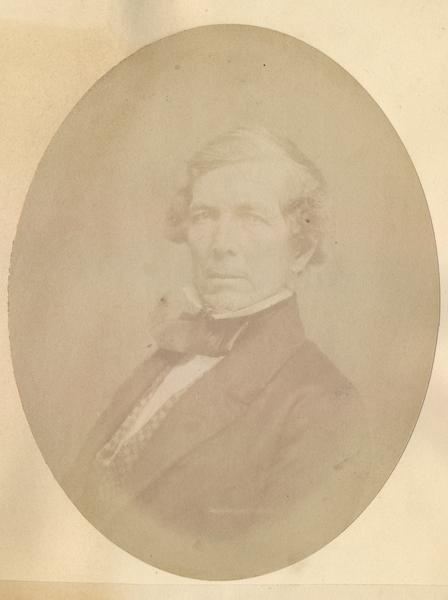 Quarter-length oval portrait of William Augustus Prentiss.  He was born in Northfield, Franklin County, Massachusetts on March 24, 1799.  He came to Wisconsin in June of 1836, and resided in Milwaukee where he served as mayor from 1858 to 1859.