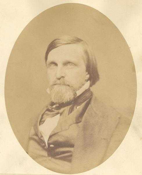 Quarter-length oval portrait of John Fox Potter.  He was born in Augusta, Maine, on May 11, 1817.  Potter came to Wisconsin in 1836 and resided in Potter's Lake, East Troy, Walworth County.  He was a Republican member of the Wisconsin state assembly in 1856, a state court judge in Wisconsin, and a U.S. Representative from the Wisconsin 1st District from 1857 until 1863. He died in 1899.