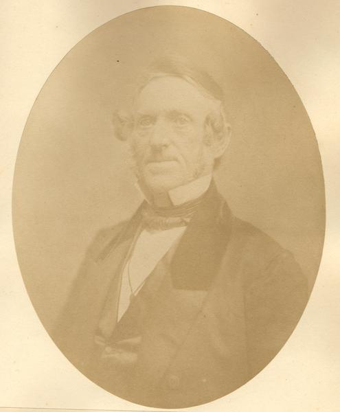 Quarter-length oval portrait of Sheldon Walling. He was born on December 15, 1795, in Old Canaan, Litchfield County, Connecticut. He moved to Wisconsin on June 22, 1836, and resided in Elk Horn. Walling was the first of four territorial Sheriffs in Walworth County.