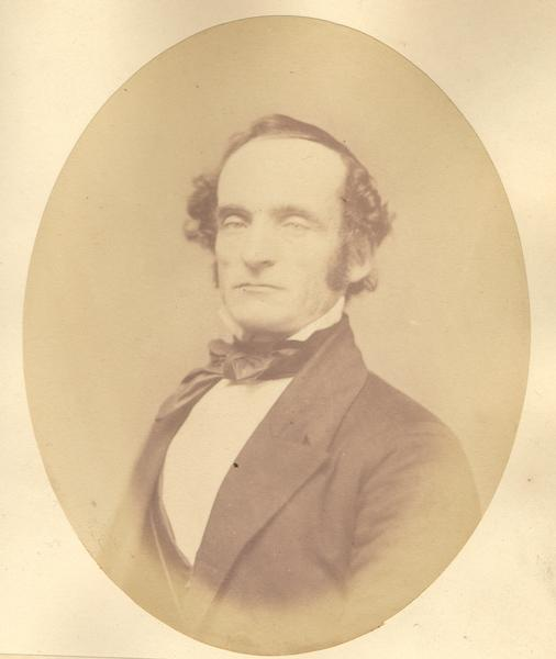 Quarter-length oval portrait of Darwin Clark.  He was born in Otsego County, New York, in 1812, and came to Wisconsin in May of 1836.  Clark served as mayor of Madison and died in 1899.