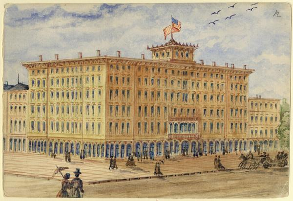 The magnificent Newhall House, a hotel that dwarfed the neighboring buildings, opened in 1857. Hölzlhuber completed this sketch for the <i>Neue illustrierte Zeitung</i> in Vienna, which published it January 29, 1883. This was a few weeks after the hotel had completely burned down with a loss of over seventy lives. In the drawing are pedestrians and a horse-drawn carriage. A large American flag flies on top.