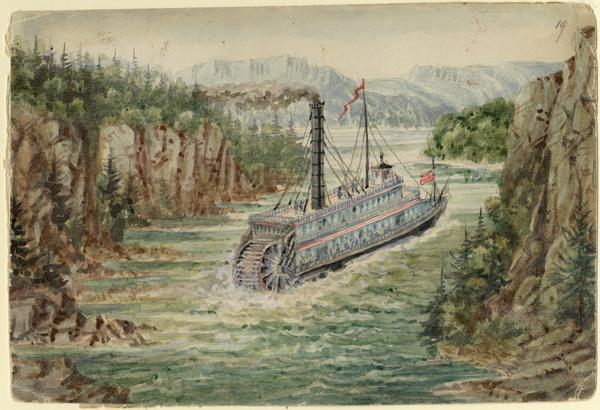 In August 1858, Hölzlhuber traveled up the St. Croix River to Stillwater, Minnesota, on the steamship <i>Winona</i>. He noted the upper Mississippi's tributaries were too narrow to admit steamships with two sidewheels. At Stillwater he marveled at the large sawmills loading lumber for shipment downriver. Here the single-smokestack <i>Winona</i> threads its way between high fir-covered bluffs.   Taken from Hölzlhuber's description of the scene, translated by Vera Kroner.