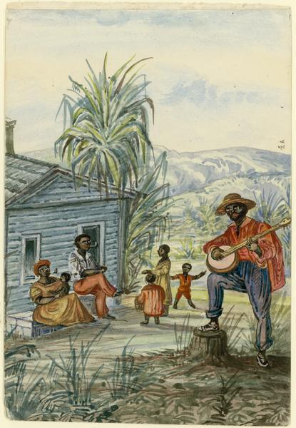 "Hölzlhuber felt his most interesting experiences in America were his interactions with southern slavery. ""My sketch here shows a negro family as I saw them in South Carolina. This family had been with the plantation owner for fifteen years, and was just resting and singing religious songs."" In front of a cabin he painted four children, a woman, a man smoking a pipe, and another playing the banjo.   Taken from Hölzlhuber's description of the scene, translated by Vera Kroner."