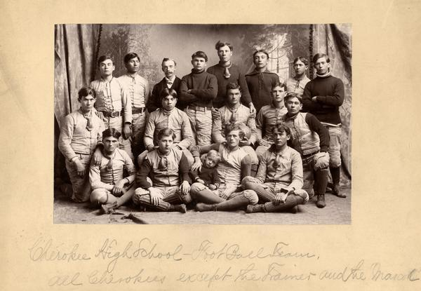 Group portrait of a Cherokee High School football team.