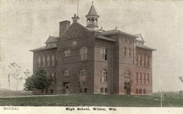 Wilton High School | Postcard | Wisconsin Historical Society