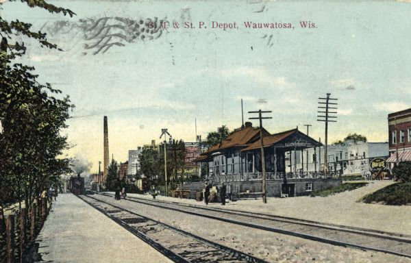 The Chicago, Milwaukee and St. Paul railroad depot.