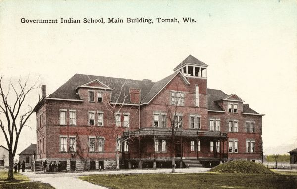 Exterior view of the main building at the Government Indian School.