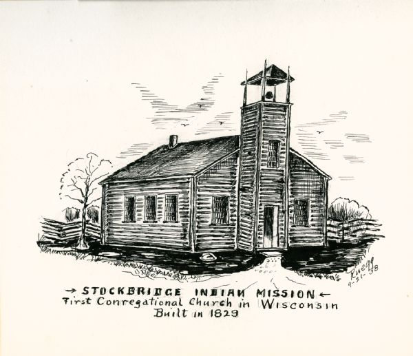 View of the Stockbridge Indian Mission, built in about 1834.