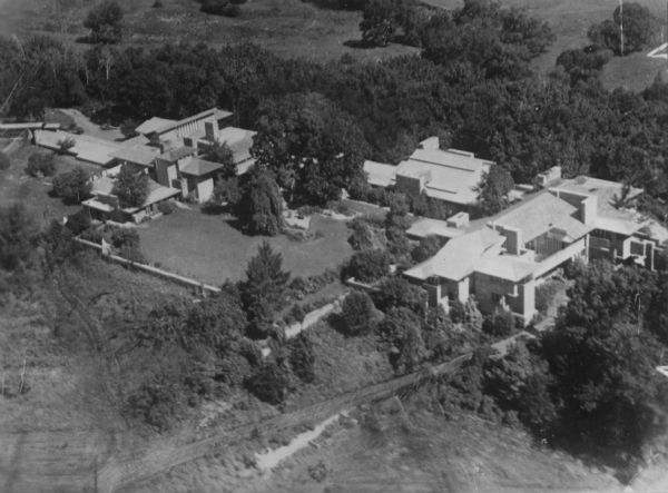 Aerial view of Taliesin, Frank Lloyd Wright's residence and architectural school complex.  Taliesin is located in the vicinity of Spring Green, Wisconsin.