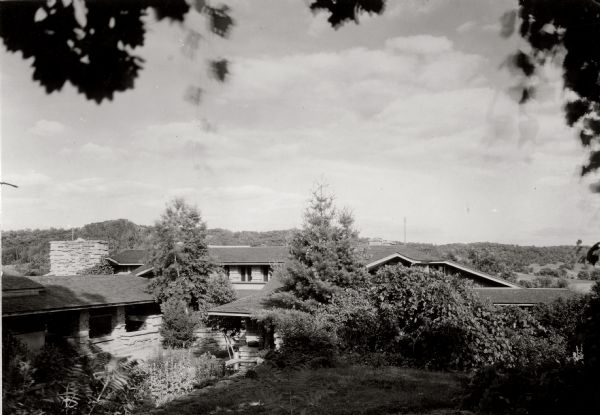 View of the living quarters at Taliesin, Frank Lloyd Wright's residence and studio. Taliesin is located in the vicinity of Spring Green, Wisconsin.