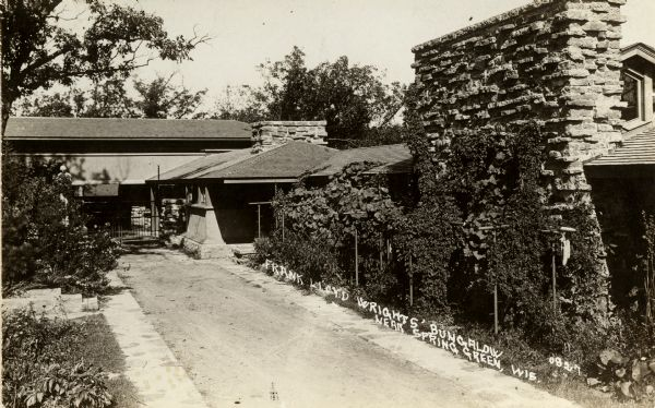 Exterior view of Taliesin, Frank Lloyd Wright's residence and studio. Taliesin is located in the vicinity of Spring Green, Wisconsin.