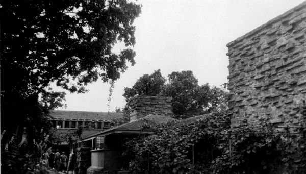 View of Taliesin, Frank Lloyd Wright's residence and studio after its reconstruction in 1914-1915 and before its partial destruction by fire in 1924.  Taliesin is located in the vicinity of Spring Green, Wisconsin.
