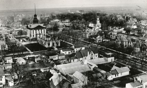 Aerial view of downtown Green Bay with old Court House and the surrounding buildings.
