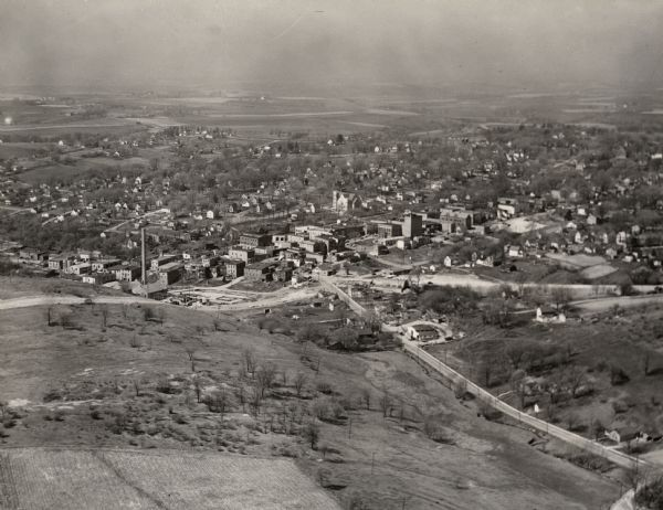 An aerial view of Mineral Point showing State Highway 23-39 under construction.