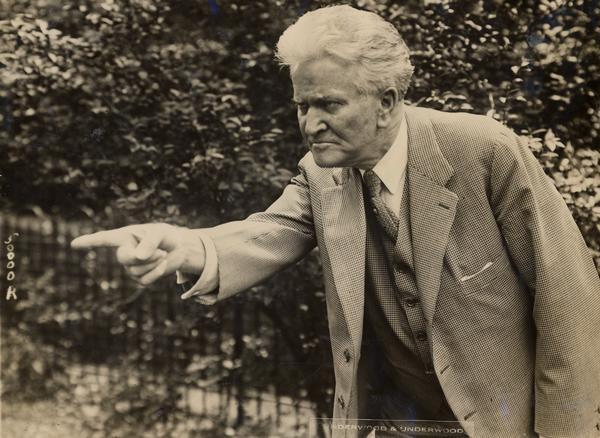 Publicity photograph of Senator Robert M. La Follette, Sr., in a characteristicly forceful pose, shortly after his selection as an independent, third-party Presidential candidate in 1924.