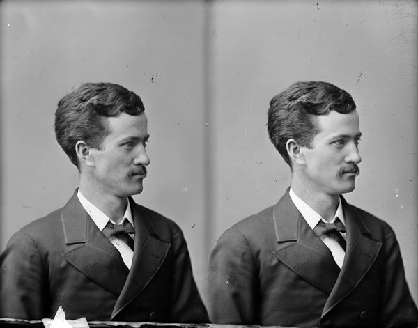 Stereograph portrait of Robert M. La Follette, Sr., taken during his senior year at the University of Wisconsin.