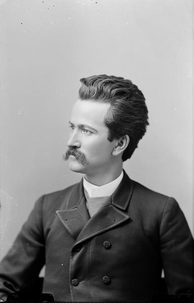 Waist-up portrait of Robert M. La Follette, Sr. at the age of 29 when elected to Congress in 1884.