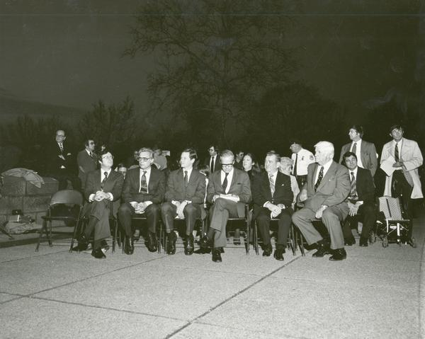 Members of the Wisconsin congressional delegation at the lighting of the U.S. Capitol Christmas tree, with Speaker of the House Tip O'Neal. Left to right, they are: Representatives David Obey, Robert Kastenmeier, Robert Petri, Senator William Proxmire, and Represenative Clement Zablocki. The annual Capitol Christmas tree was often grown in Wisconsin.