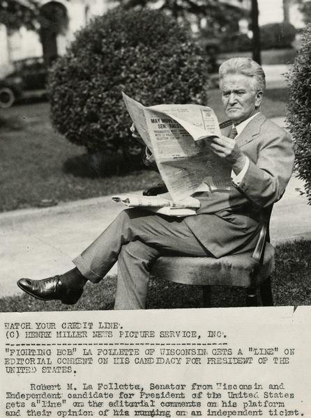 Publicity photograph of Robert M. La Follette, Sr., for his independent, third-party candidacy for the Presidency in 1924. La Follette is outdoors reading, while sitting on an living room chair.
