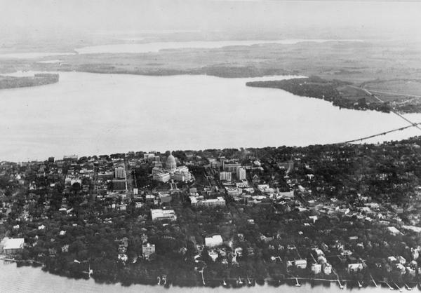 Encounter On Lake Mendota >> Aerial View Of Isthmus Towards Lake Monona Photograph