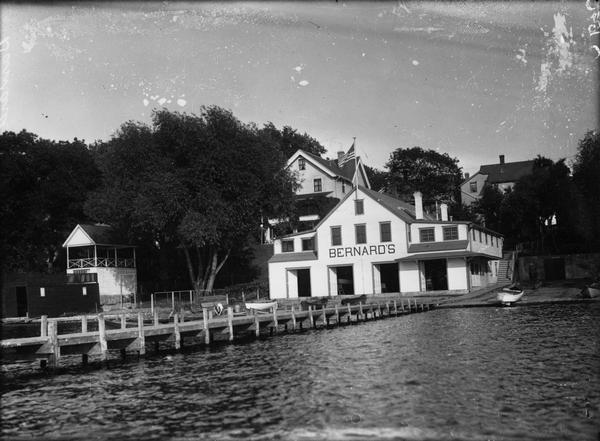 View from water of Bernard's Boat House on Lake Mendota, adjacent to the present James Madison Park.