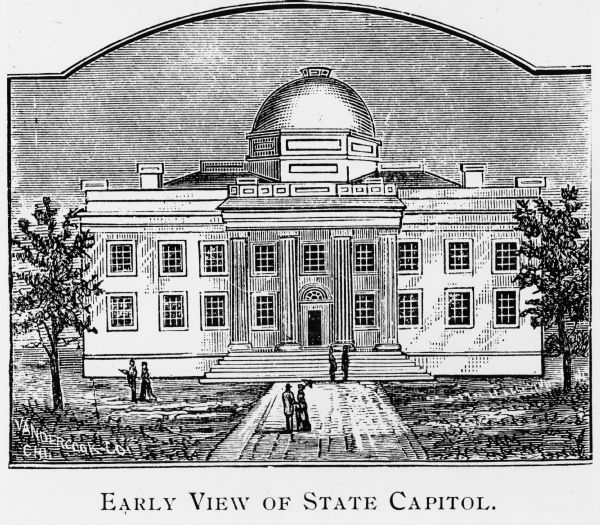 Illustration of the second Wisconsin State Capitol, which was the first one in Madison.