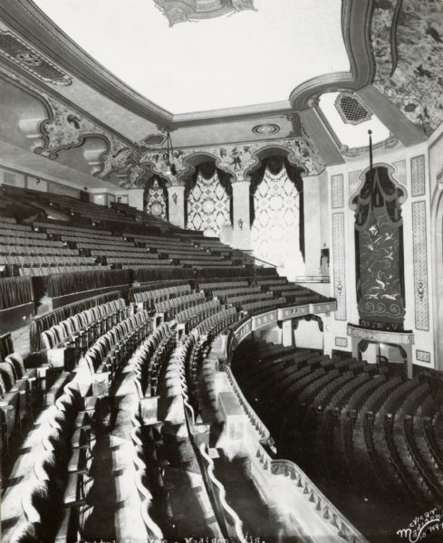 Interior view of the Capitol Theatre balcony in the auditorium.