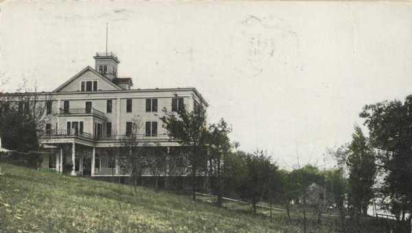 The Madison Sanitarium on Lakeside Street at Lake Monona, not to be confused with the Lakeside Sanitarium, which was located farther east along the south shore of the lake.  The Lakeside Sanitarium was a popular resort; it burned in the 1870s and was never rebuilt.  The Madison Sanitarium, a legitimate hospital and nursing home, opened in 1903 as a branch of the Battle Creek Sanitarium in Battle Creek, Michigan.
